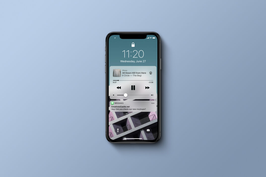 iPhone X (Top View) Mockup FREE download