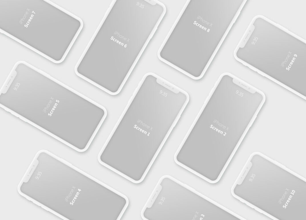 iPhone X Clay Style Mockup Bundle FREE download