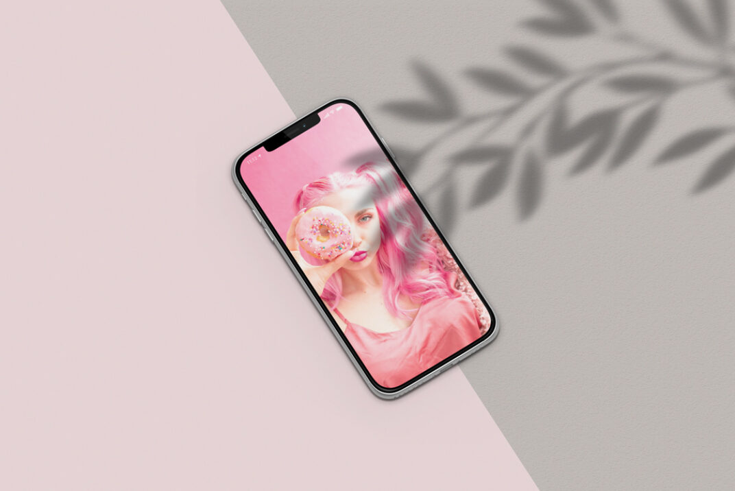 iPhone XS with Shadows Mockup FREE download